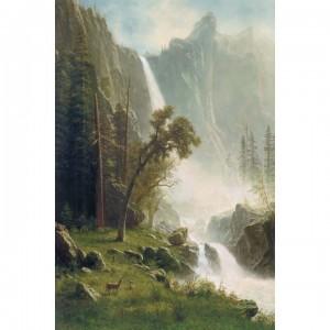 01-007名畫系列-亞伯特-優勝美地瀑布 Bridal Veil Falls, Yosemite