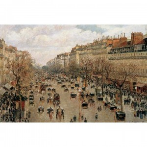 01-010名畫系列-畢沙羅-巴黎蒙馬特林蔭大道 Boulevard Monmartre in