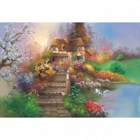 HM100-215 油畫-花園小屋(2)拼圖1000片