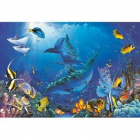 HM1000-131 海豚系列-海洋下的嬉戲夜光拼圖1000片