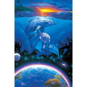 HM1000-144 海豚系列-聚夜光拼圖1000片