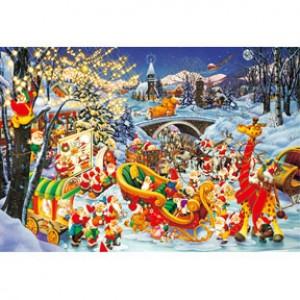 HM1000-145 小矮人歡度聖誕夜光拼圖1000片