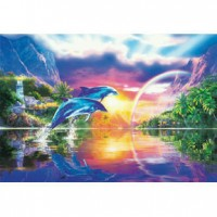 HM1000-169 海豚系列-七彩夜光拼圖1000片