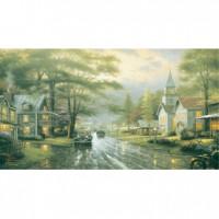 HM2000-011 西洋油畫-下雨的街道夜光拼圖2000片