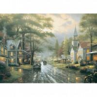 HM520-058 西洋油畫-雨後街景夜光拼圖520片