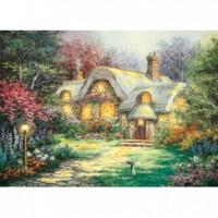 HM520-064 西洋油畫-溫馨小屋夜光拼圖520片
